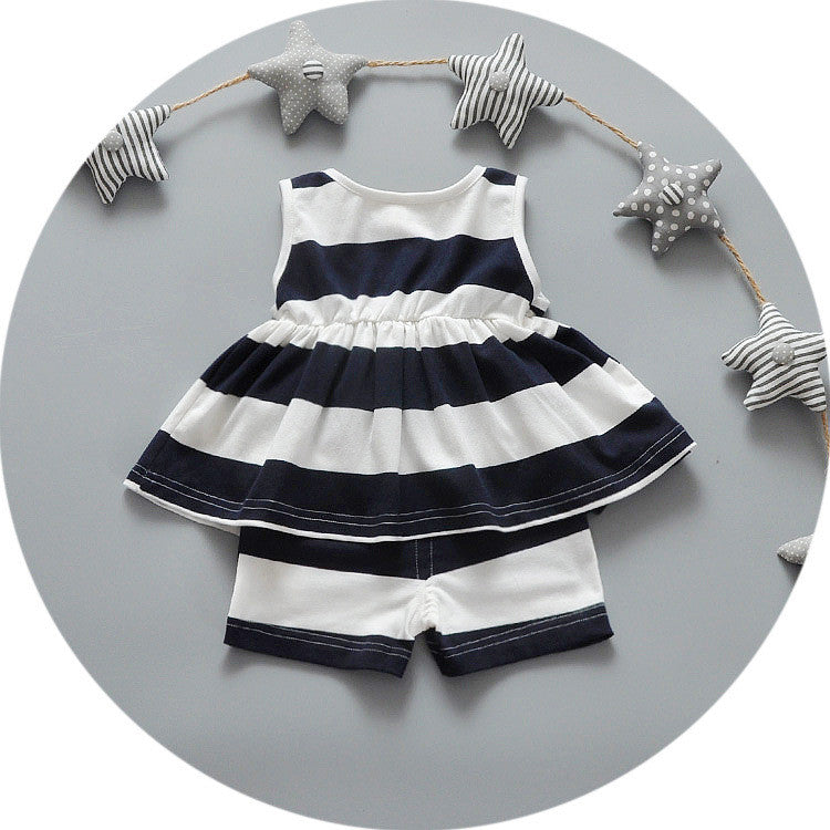 d320f62b095b ... Nice kids designer brand kids Toddler Kids Baby Girls Summer Outfits  Clothes Dress+Short 2PCS ...