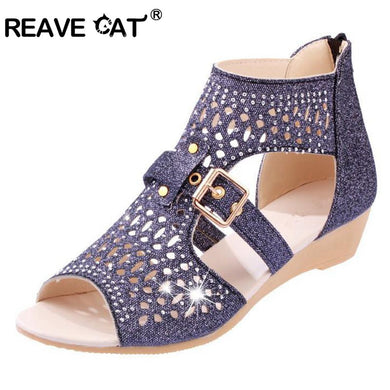 93e3ff5f2359d REAVE CAT Big size 36-40 Sexy Summer Casual Sexy Women shoes Platform Sandals  Fretwork