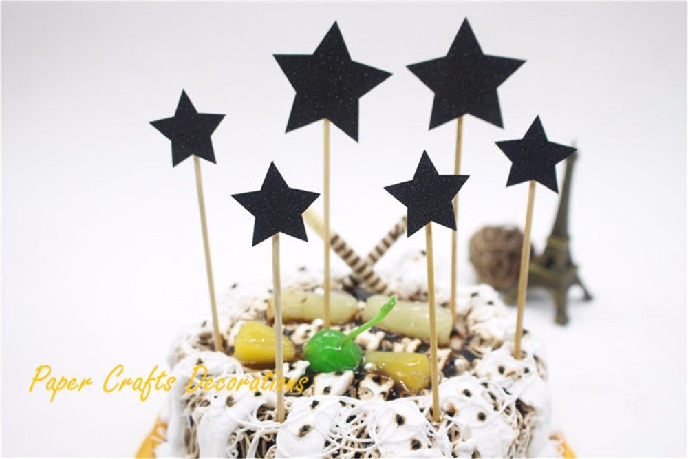 Set Of 6pcs Gold Glitter Stars Party Cake Topper Kit Personalized Wedding Baby Birthday Cupcake Decorations