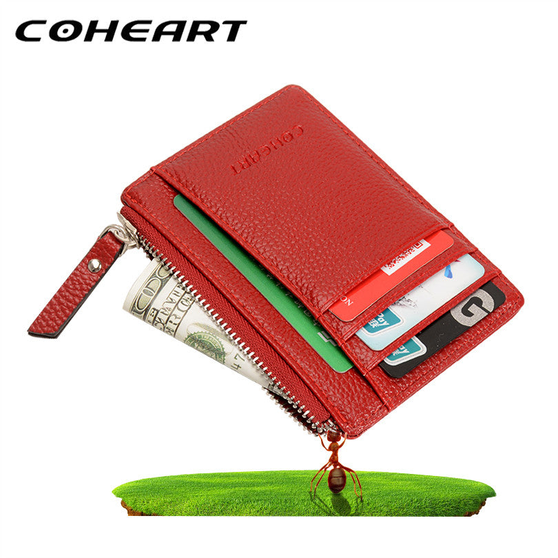 b14c7eeb4a2 ... Top Quality leather card holder wallet small coin pocket mini purse  wallet men purse women 8 ...