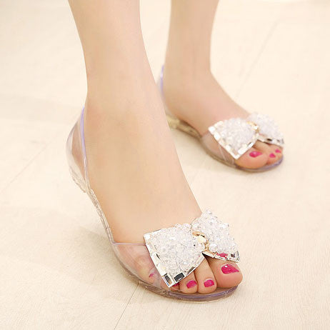 adac2dfa825 ... Women Sandals Summer Style Bling Bowtie Fashion Peep Toe Jelly Shoes  Sandal Flat rhinestone bow transparent ...