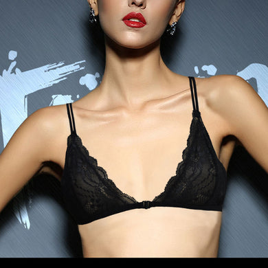 e7378f6c7bf38 Women Sexy Mesh Lined Embroidery Lace Bra Brassiere Bralette Front Close  Triangle BH Size 32 34