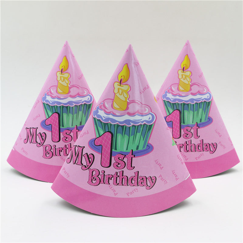 New Pink My 1st Birthday Party Pattern Theme Supplies Kids Girls