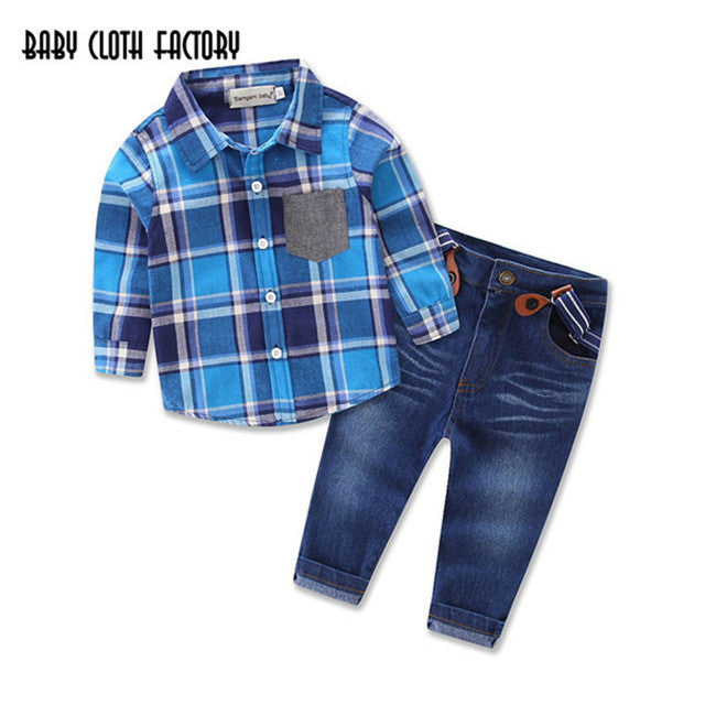 198bb7abbc8b Autumn Kids Clothes 2PCS Plaid Long Sleeve Shirt and Denim Overalls Casual  Suit Hot Sale New