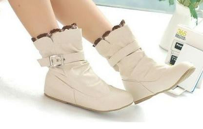 ea7a22ce0136 BEYARNE new arrive soft leather ankle boots buckle women boots flats winter  shoes ladies female autumn