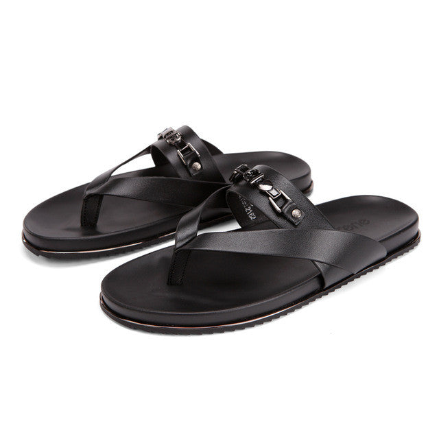 3e3b5b4185eb3 SERENE Cow Leather Sandals Men Black Flip Flops Casual Flat Sandals Summer  Beach Slipper Men Comfort