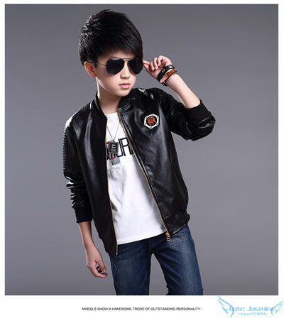 9d34b2675 Cutyome Teenage Boys Leather Jackets 2017 Spring and Autumn Kids Red ...