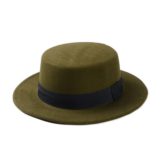 ... Brand New Wool Boater Flat Top Hat For Women s Felt Wide Brim Fedora Hat  Laday Prok ... 42f3519160c