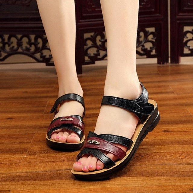 24cc9b0e84b0c ZZPOHE Summer soft leather sandals mother flat soft toe Women sandals middle -aged non-