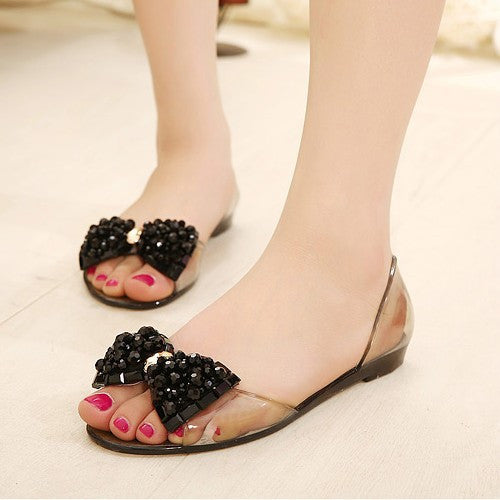 2eff03b7ce9004 Women Sandals Summer Style Bling Bowtie Fashion Peep Toe Jelly Shoes S –  MarketerSupply