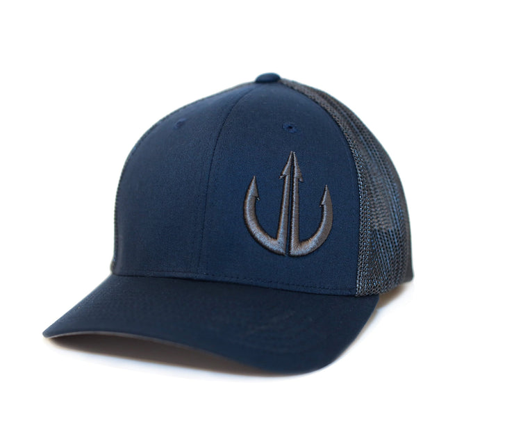 Navy Blue and Charcoal Flex Fit Trucker Logo hat.