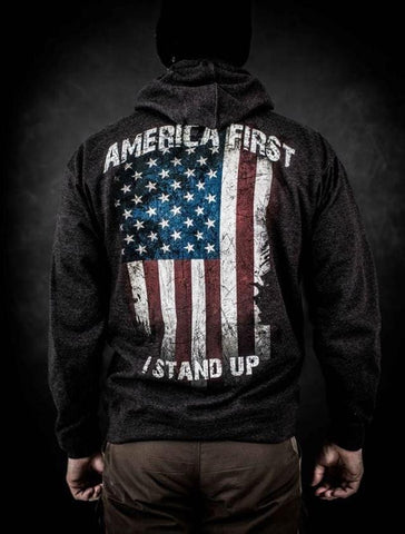 AMERICA FIRST - I STAND UP - ZIP UP HOODIE