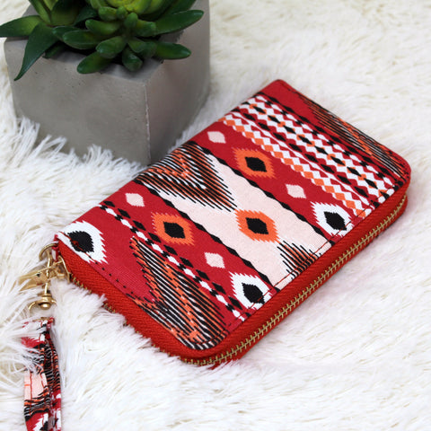 CANVAS HERITAGE PRINT CLUTCH WALLET