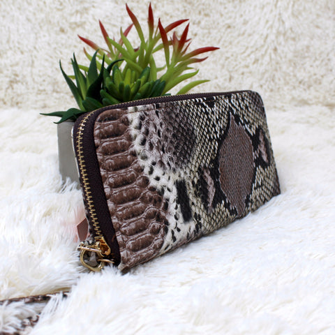 VEGAN SNAKESKIN CLUTCH WALLET