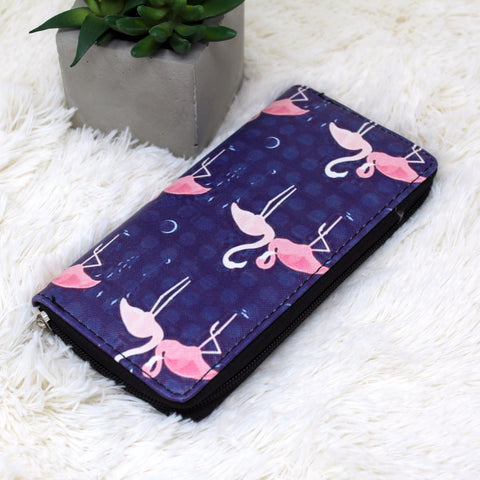CANVAS FLAMINGO PRINT CLUTCH WALLET