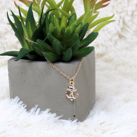 NAVY ANCHOR CHARM NECKLACE