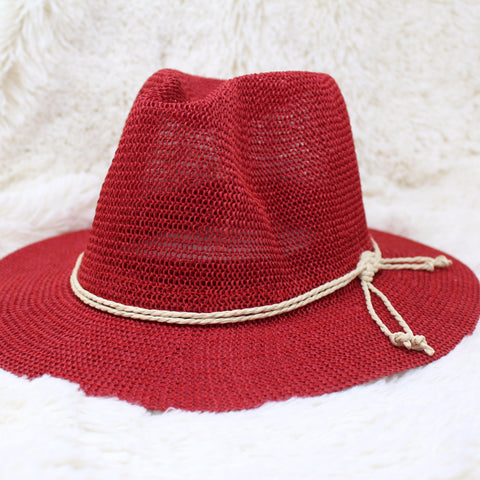 RUBY RED WIDE BRIM FEDORA HAT