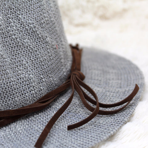 GRAY WIDE BRIM FEDORA HAT