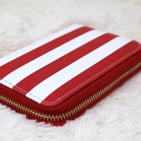 CANVAS CANDY CANE PRINT CLUTCH WALLET