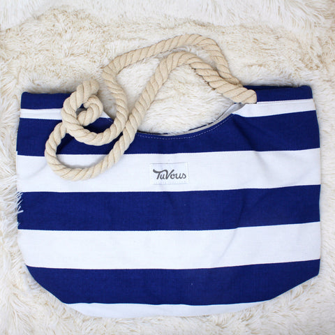 CANVAS STRIPE PRINT BEACH TOTE