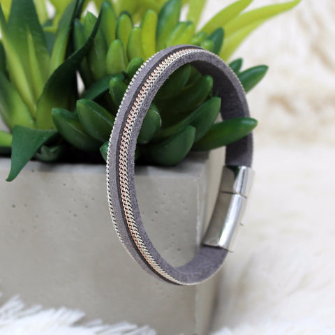 GRAY MAGNETIC CLASP BRACELET