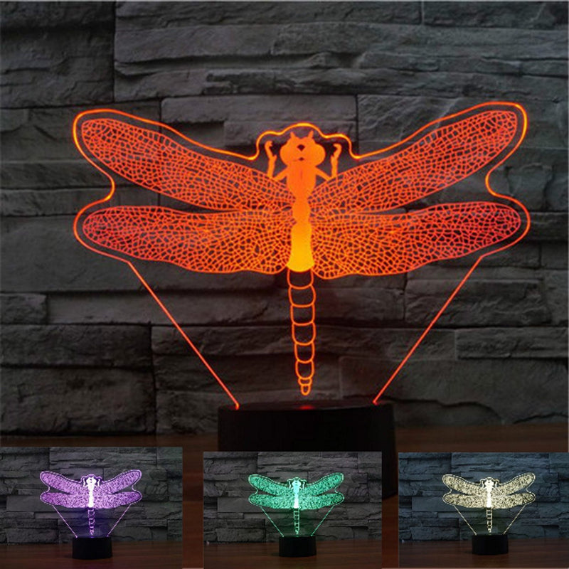 Dragonfly Wasp 3D LED Night Light Lamp - 3D LED LAMP 3DLightLamps.com