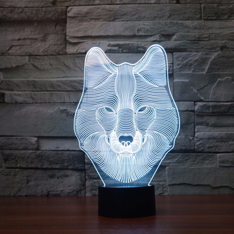 Wolf Head 3D LED Night Light Lamp - 3D LED LAMP 3DLightLamps.com
