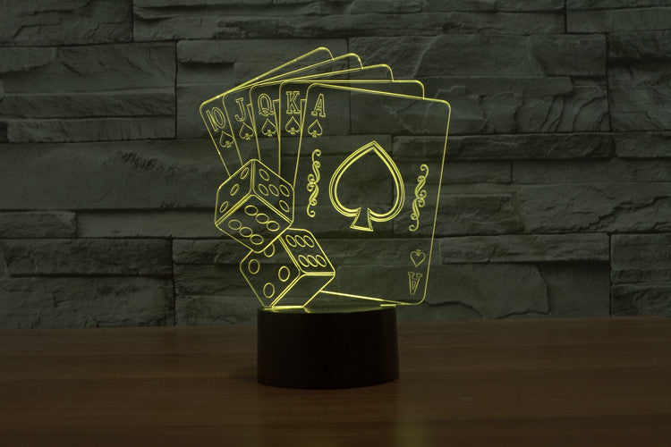 Playing Cards & Dice 3D LED Night Light Lamp - 3D LED LAMP 3DLightLamps.com