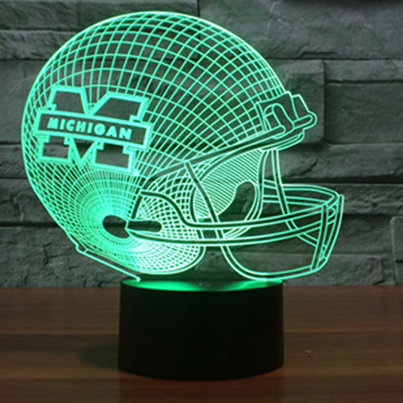 NFL Michigan Wolverines Football Team Helmet 3D LED Night Light Lamp - 3D LED LAMP 3DLightLamps.com