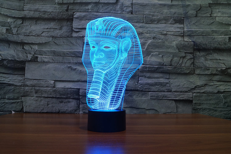 Egyptian Pharaohs Head 3D LED Night Light Lamp - 3D LED LAMP 3DLightLamps.com