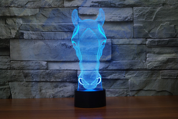 Horse Head Front view 3D LED Night Light Lamp - 3D LED LAMP 3DLightLamps.com