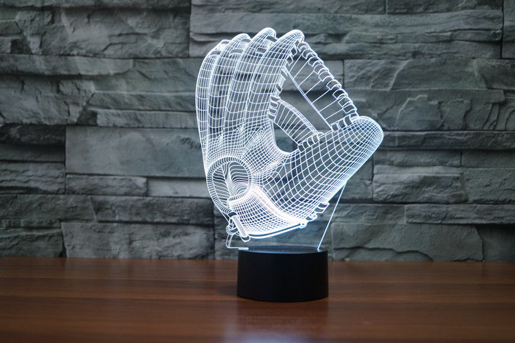 Baseball Glove 3D LED Night Light Lamp - 3D LED LAMP 3DLightLamps.com