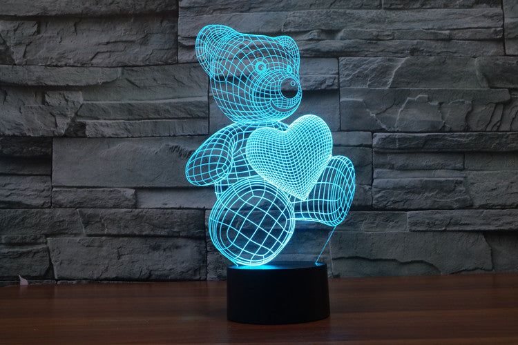 Valentine's Day Love Me Bear with Heart 3D LED Lamp - 3D LED LAMP 3DLightLamps.com