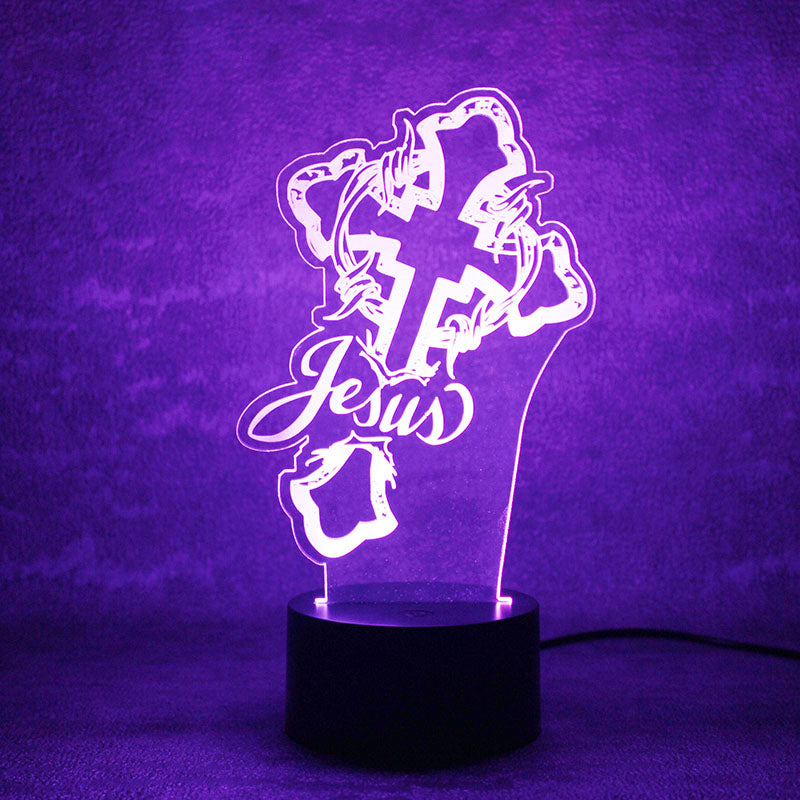 Jesus Cross 3D LED Night Light Lamp - 3D LED LAMP 3DLightLamps.com
