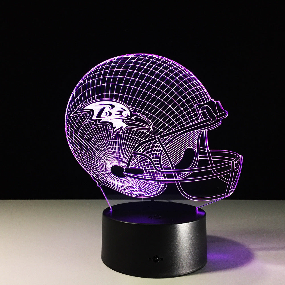 NFL Baltimore Ravens Football Helmet 3D LED Night Light Lamp - 3D LED LAMP 3DLightLamps.com