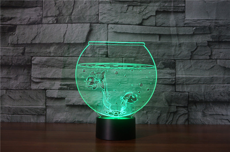 Fish Bowl 3D LED Night Light Lamp - 3D LED LAMP 3DLightLamps.com