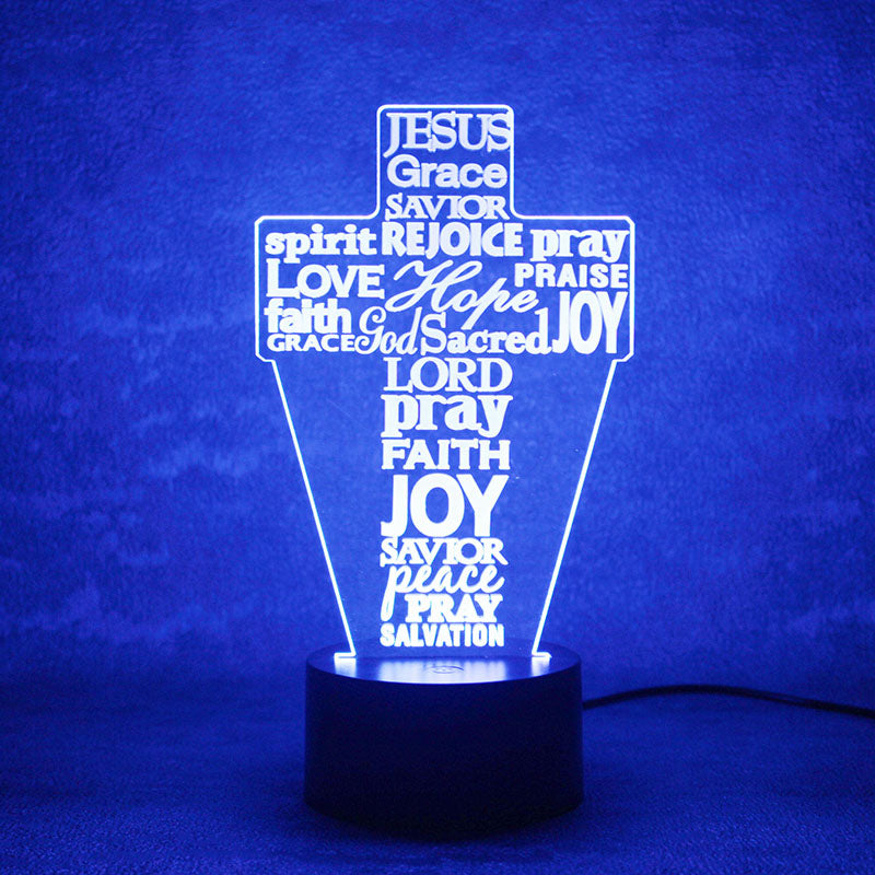Jesus Savior Cross 3D LED Night Light Lamp - 3D LED LAMP 3DLightLamps.com