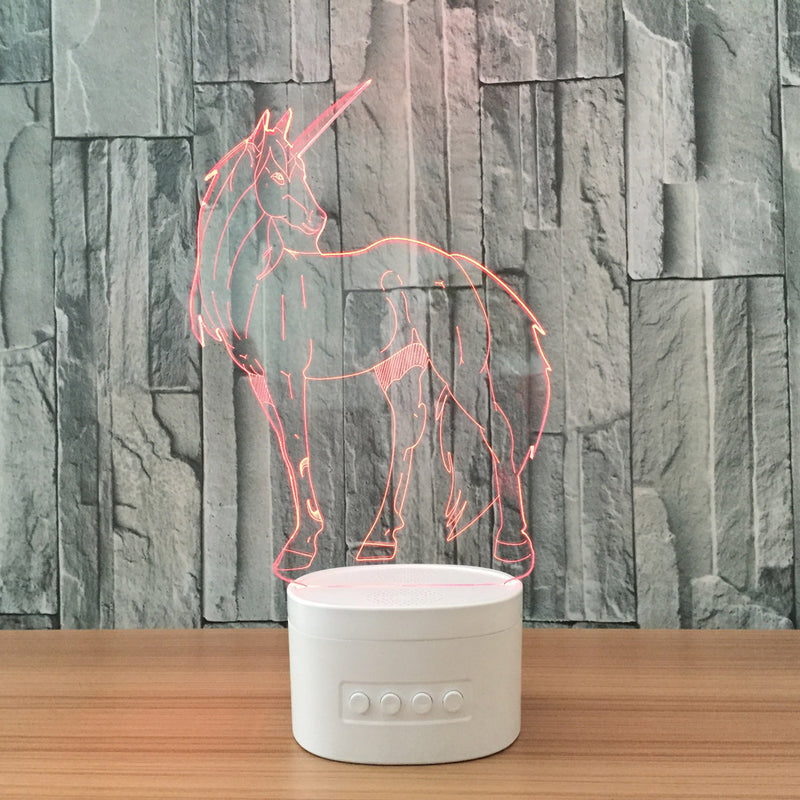 Unicorn 3D LED Bluetooth Speaker Lamp - BLUETOOTH SPEAKER LAMP 3DLightLamps.com
