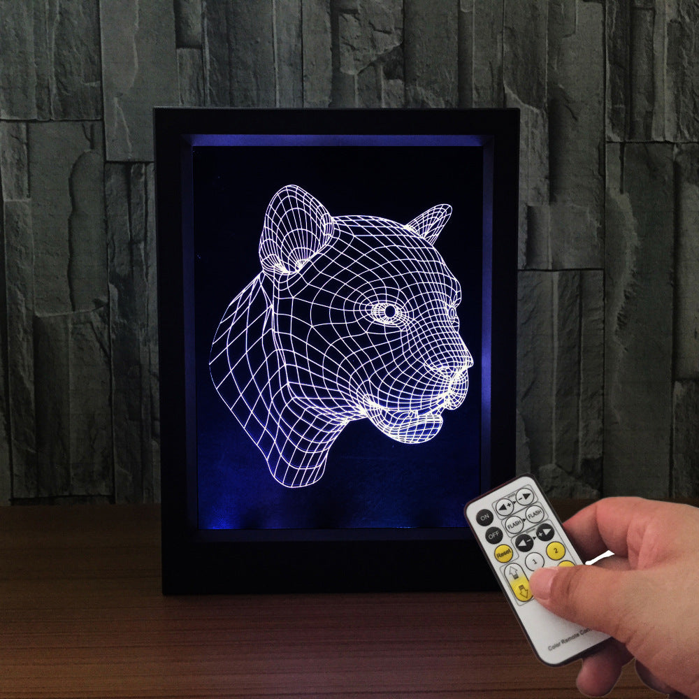 The Leopard 3D LED Night Light Framed - 3D LED NIGHT LIGHT FRAMED 3DLightLamps.com