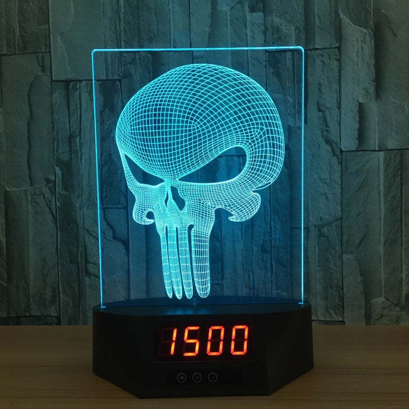Punisher Skull 3D LED Night Light Lamp Clock - 3D LED CLOCKS 3DLightLamps.com