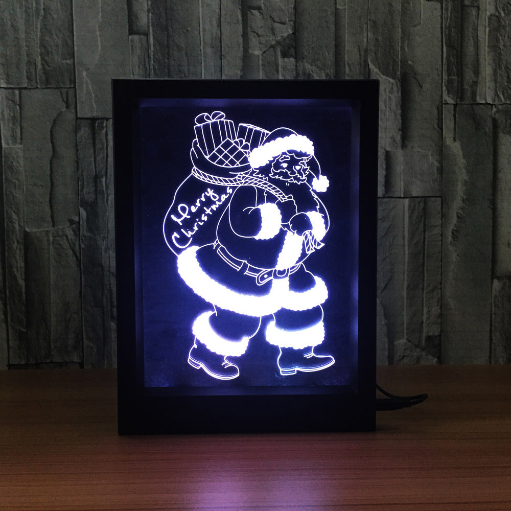 Santa claus 3d led night light framed 3d light lamps santa claus 3d led night light framed jeuxipadfo Choice Image