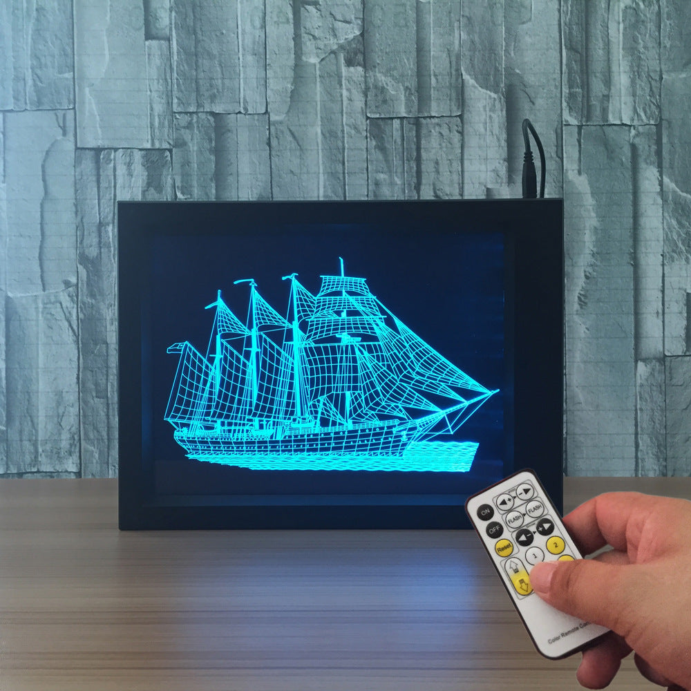 Yacht Ship Boat 3D LED Night Light Framed - 3D LED NIGHT LIGHT FRAMED 3DLightLamps.com