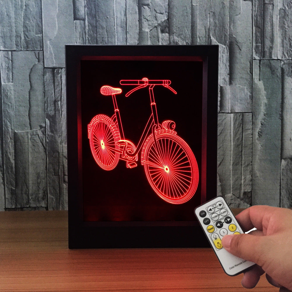 The Bicycle 3D LED Night Light Framed - 3D LED NIGHT LIGHT FRAMED 3DLightLamps.com