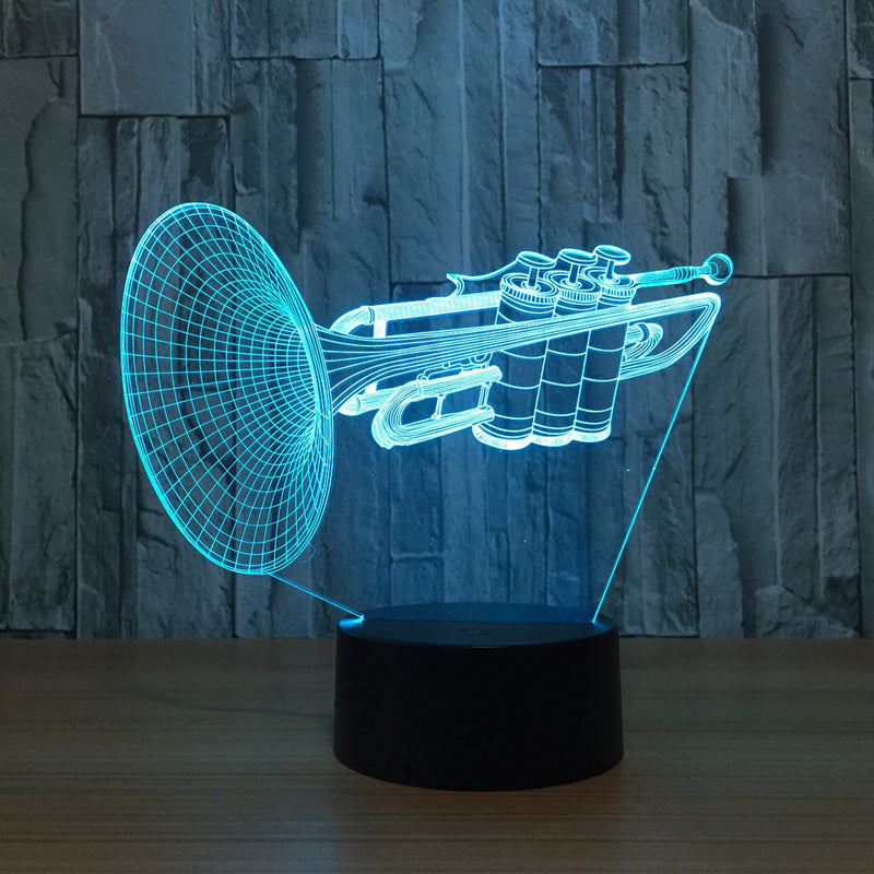Trumpet Instrument 3D LED Lamp - 3D LED LAMP 3DLightLamps.com