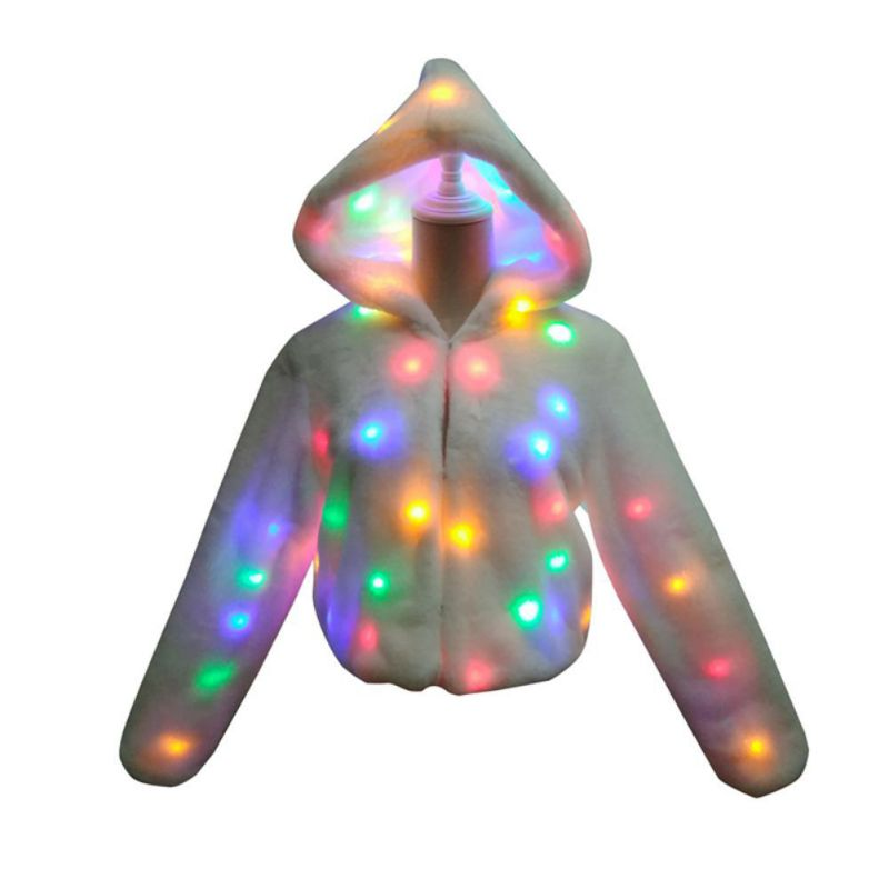 Ladies Hooded LED Glowing Party Faux Fur Long Sleeve Jacket Coat