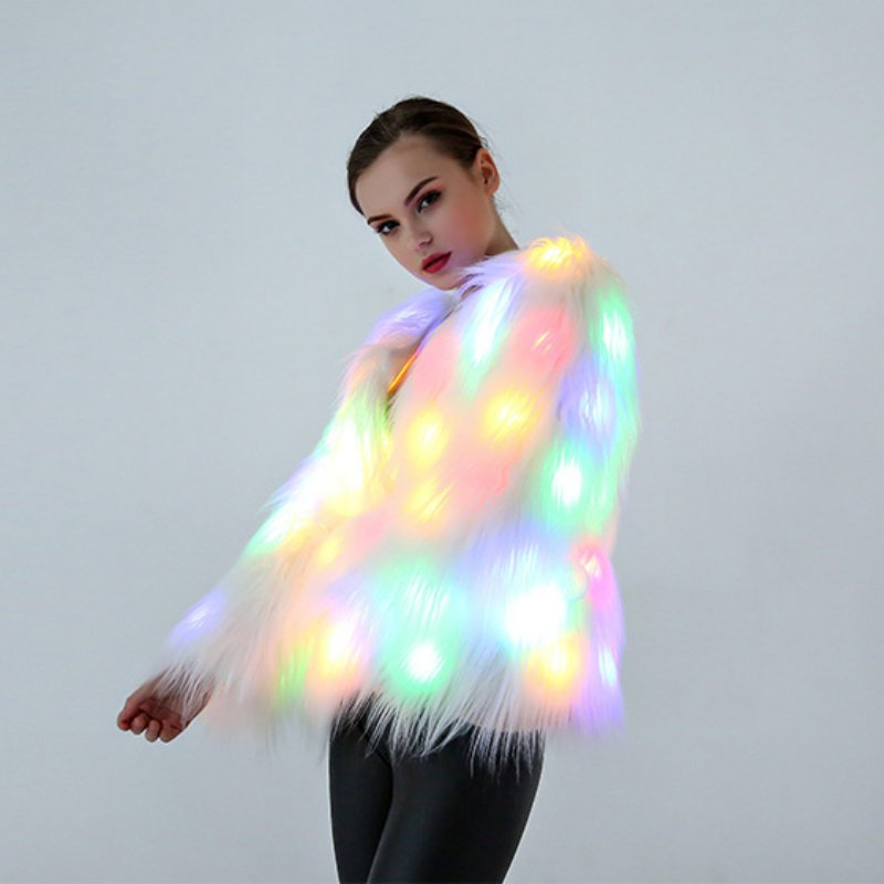 Ladies White Faux Fur Luminous LED Light Coat Party Jacket