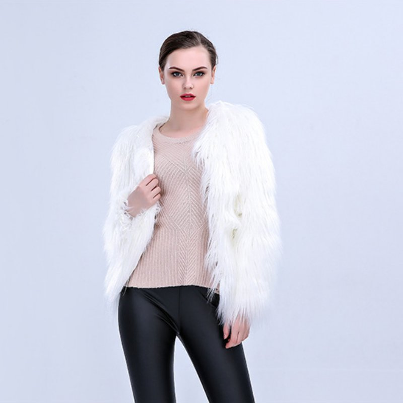 Ladies White Faux Fur Luminous LED Light Coat Party Jacket - LED LIGHT FASHION 3DLightLamps.com