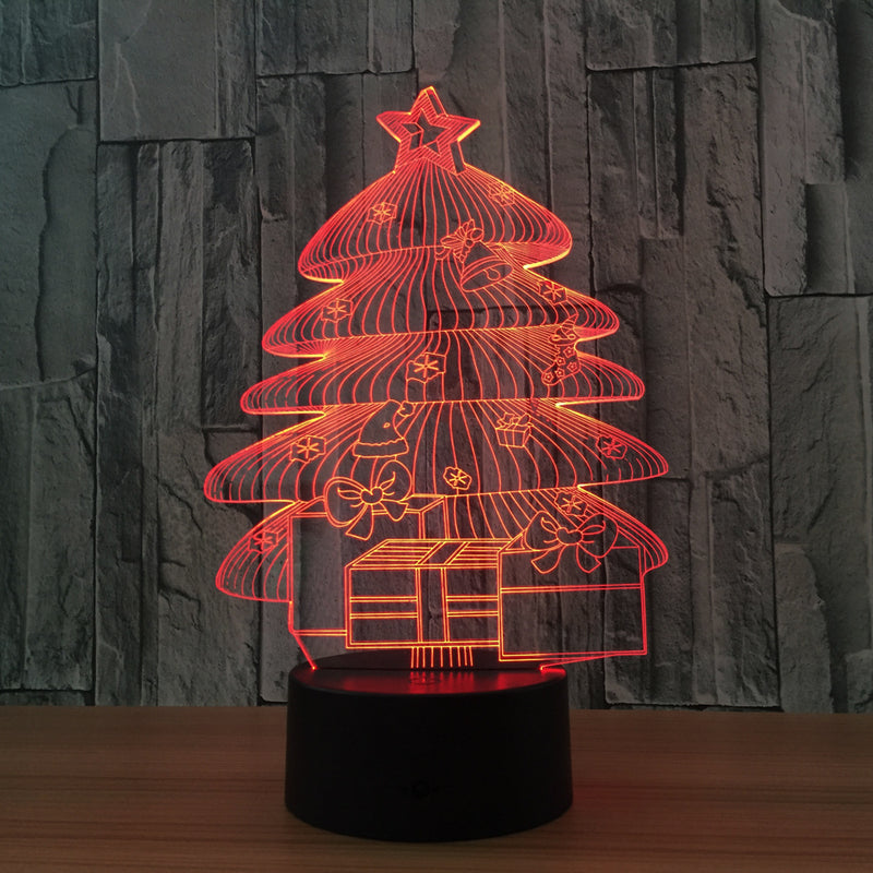 Christmas Tree w/Presents 3D LED Night Light Lamp