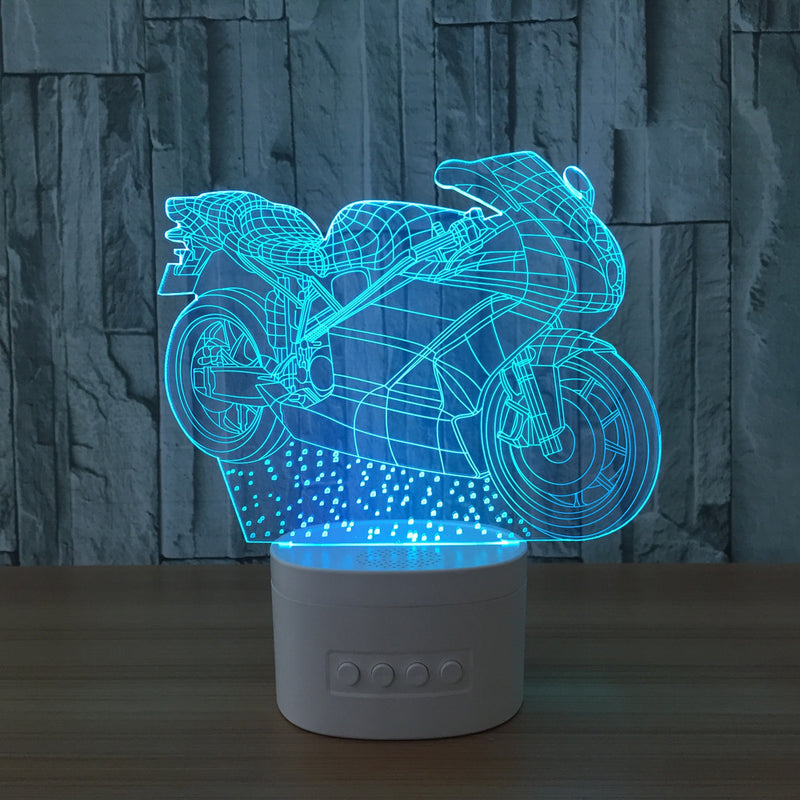 Motorcycle 3D LED Lamp Bluetooth Speaker - BLUETOOTH SPEAKER LAMP 3DLightLamps.com