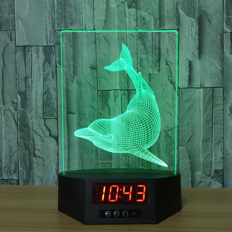 Dolphins Swimming 3D LED Night Light Lamp Clock - 3D LED CLOCKS 3DLightLamps.com